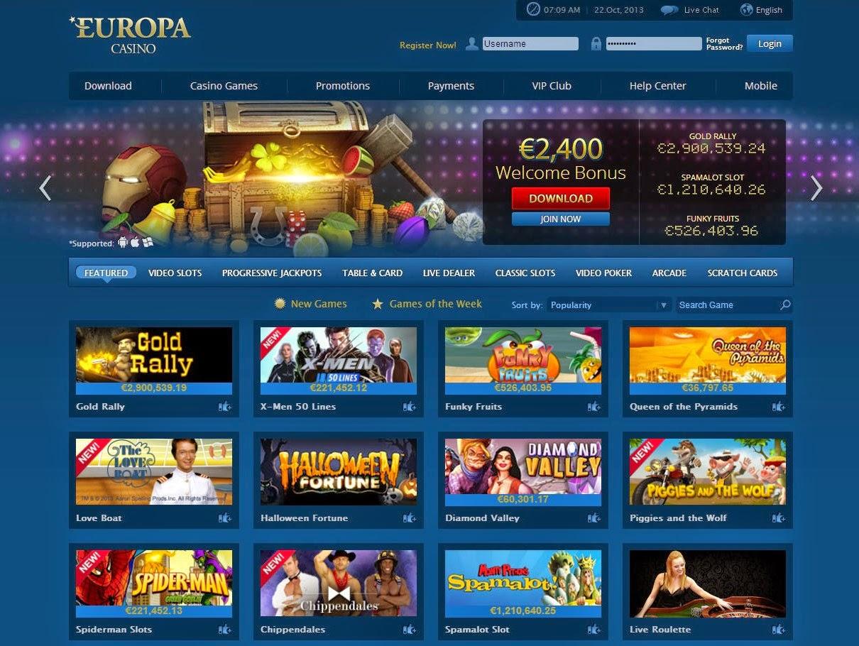 Europa Casino Games Screen