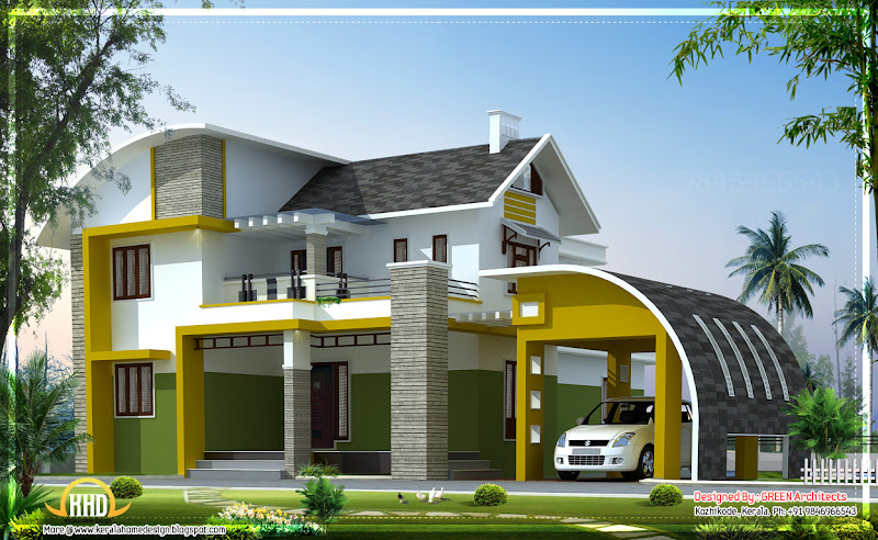 Kerala home design (3D views of residential bangalows) title=