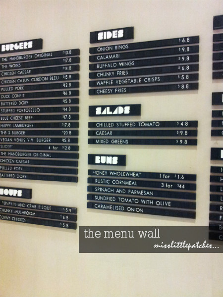 Menu Wall @ The HandBurger