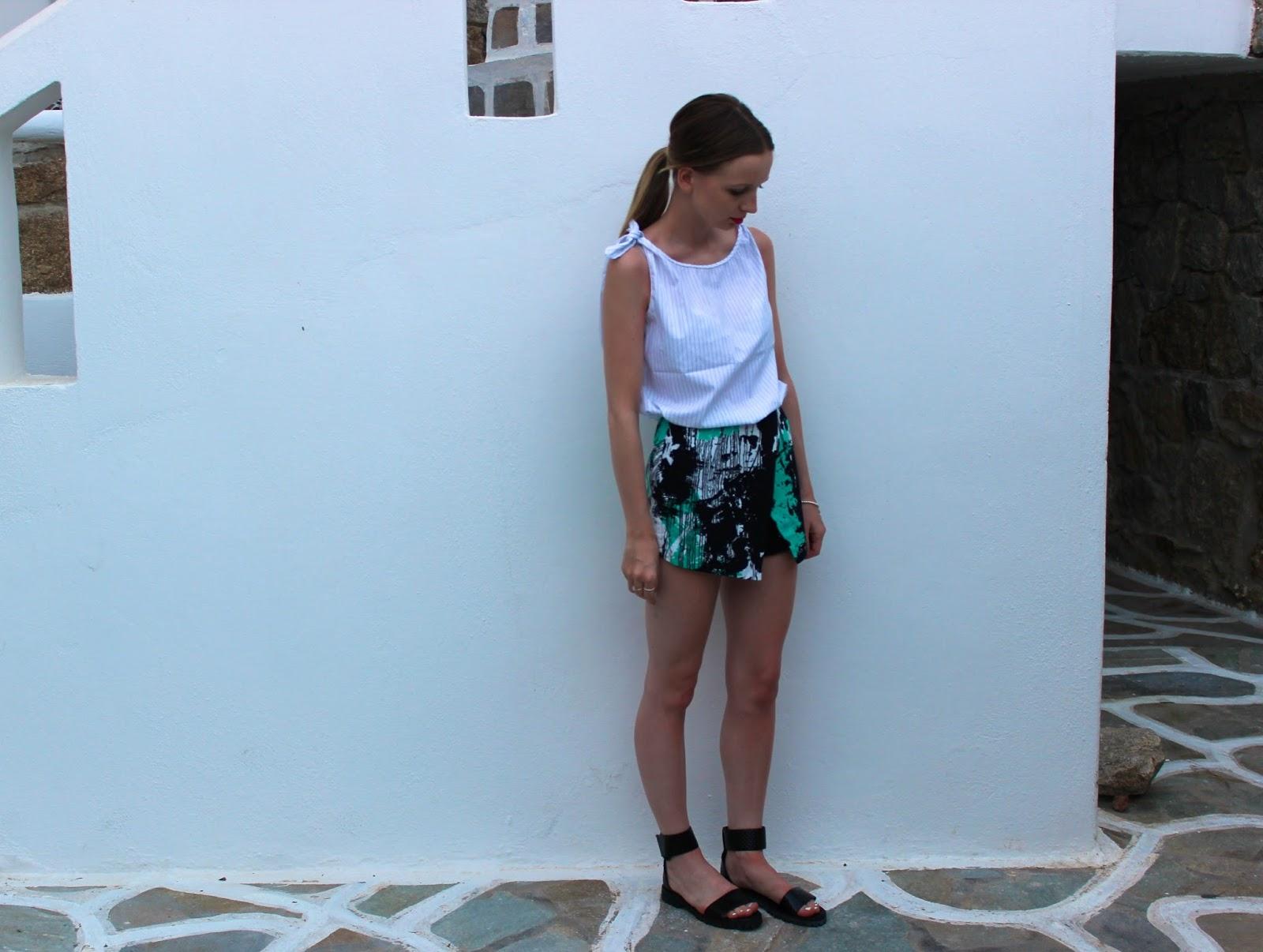 Zara Pinstripe Top, Topshop Scratch Print Skort & ASOS Fiza Sandals