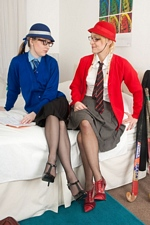 """Lesbo geeks Kiana and Paige eats pussy in their dorm at """"VF Academy"""""""