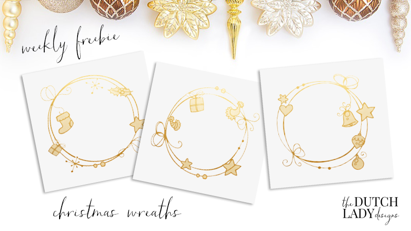 Free golden Christmas wreath clipart