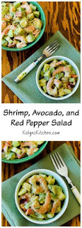 Shrimp, Avocado, and Red Pepper Salad Recipe (Low-Carb, Gluten-Free, Can Be Paleo) [from KalynsKitchen.com]