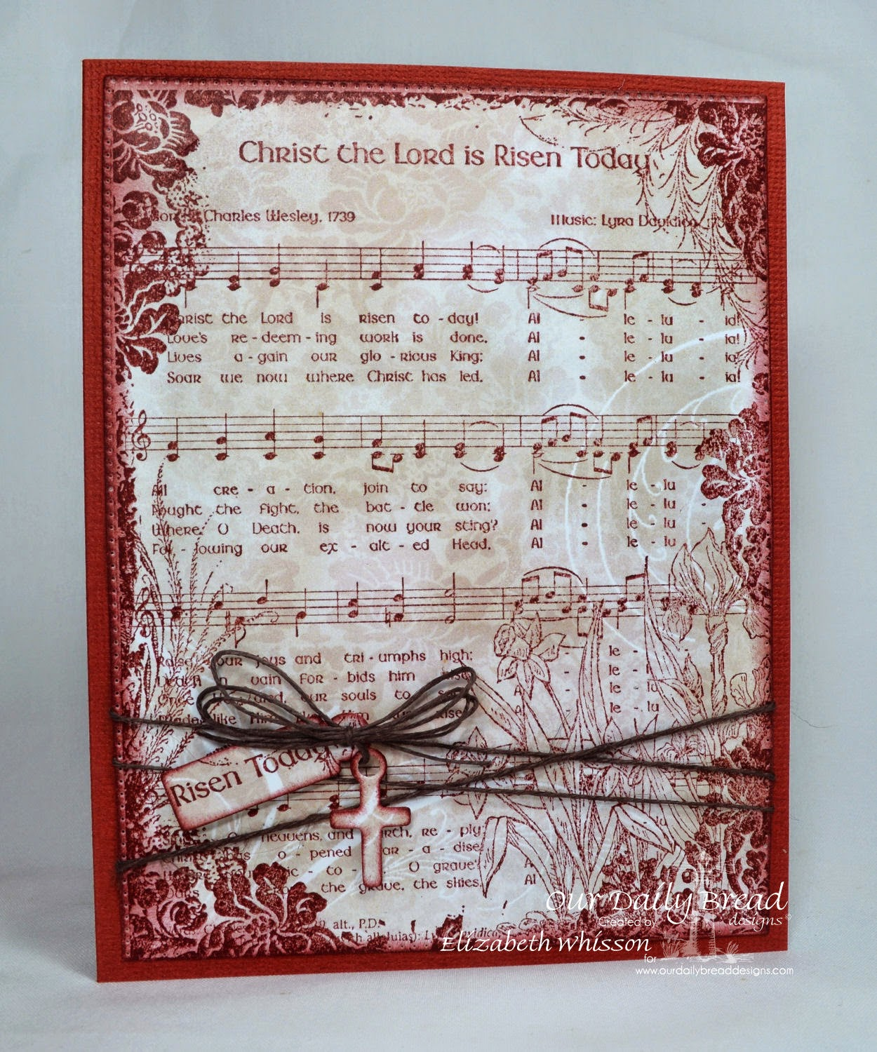 Elizabeth Whisson, Our Daily Bread Designs, ODBD, ODBDDT, Christ the Lord is Risen Today, hymn, Flourished Star Pattern dies, Distress Ink Aged Mahogany