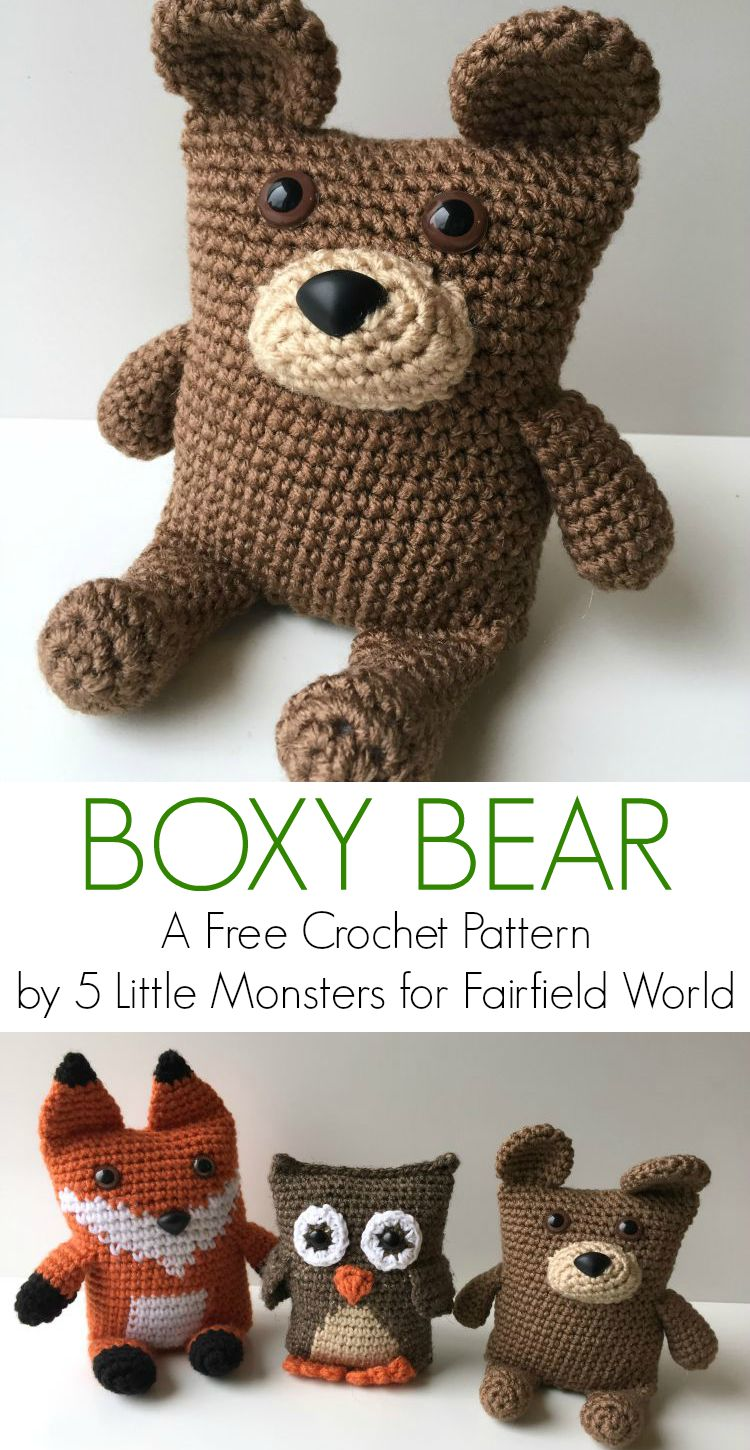Free Crochet Patterns For Animals Easy : 5 Little Monsters: Boxy Bear