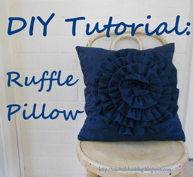 Blue ruffle pillow on white chair- cover for DIY tutorial