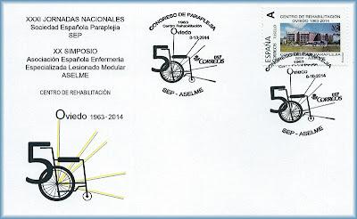 Sobre con el matasellos del Congreso de Paraplejia, Oviedo 2014