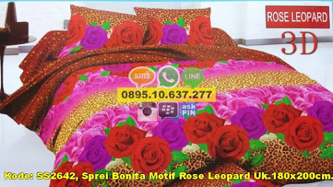 Sprei Bonita Motif Rose Leopard Uk.180x200cm.