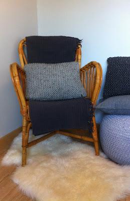 pouf gris en laine