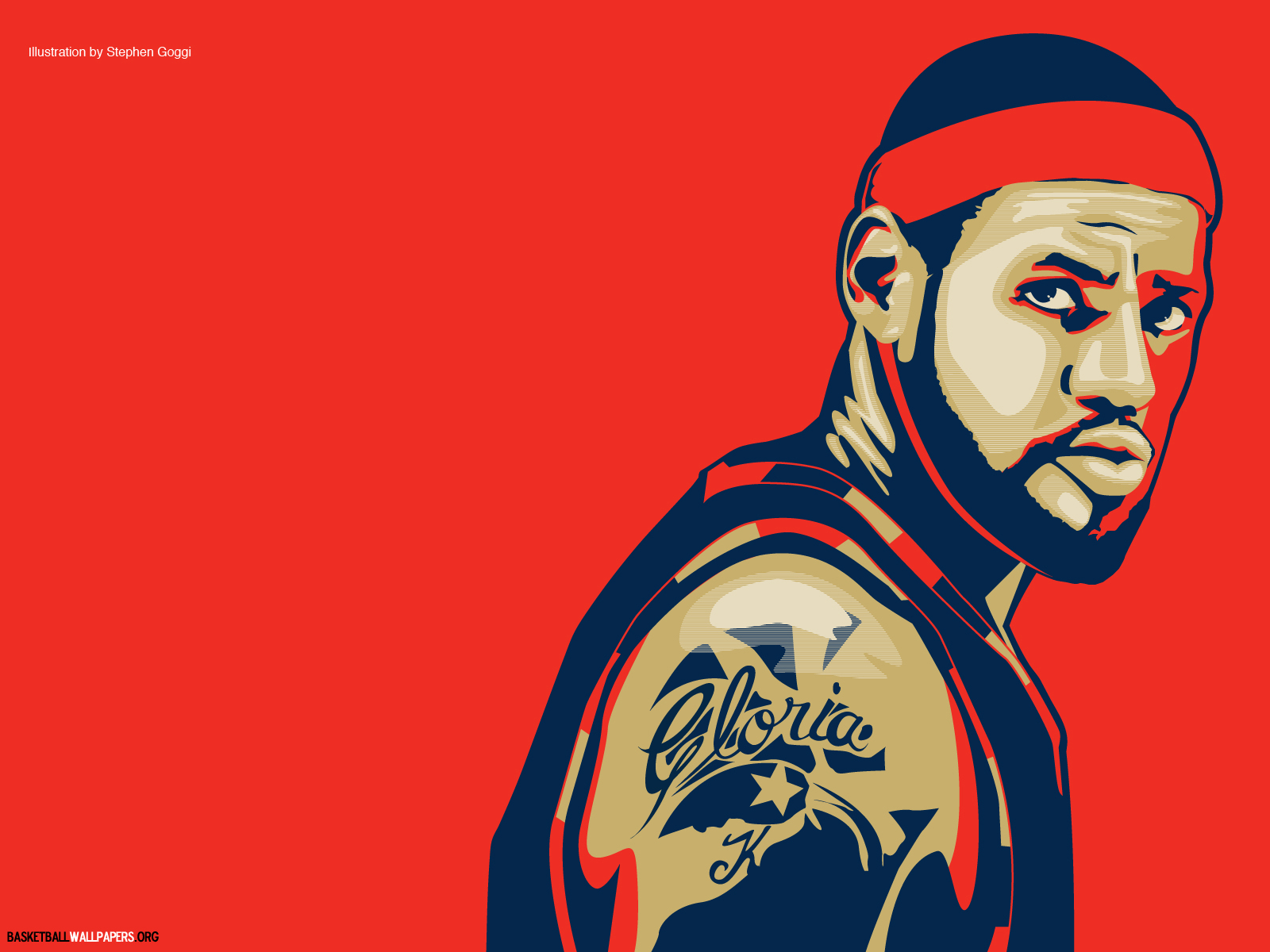 Lebron James Illustration Red Wallpaper 15