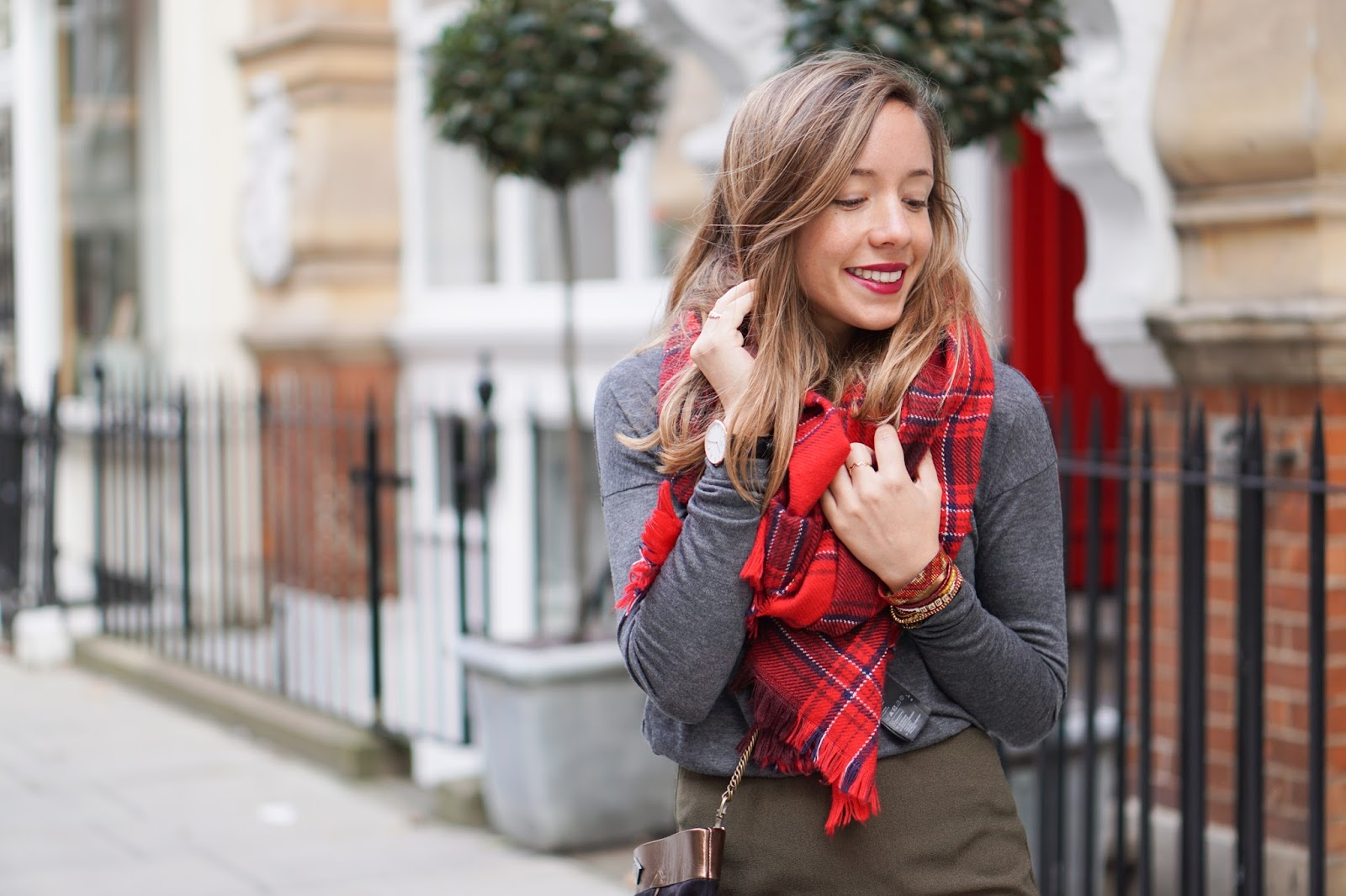 écharpe tartan carreaux rouge
