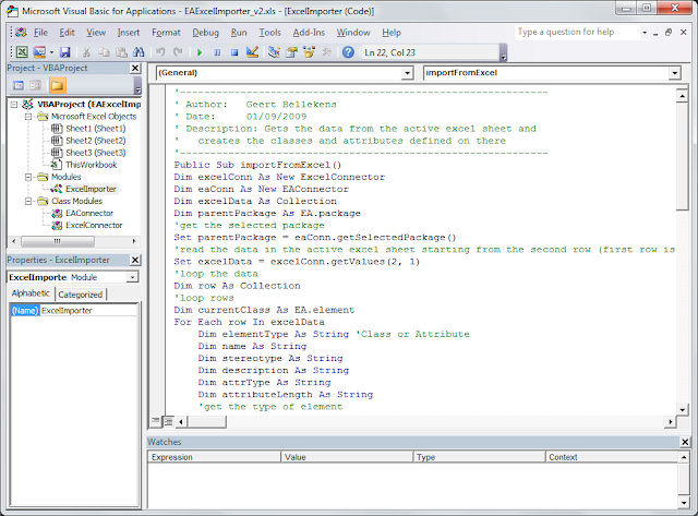 Excel Importer - MS Excel Visual Basic window