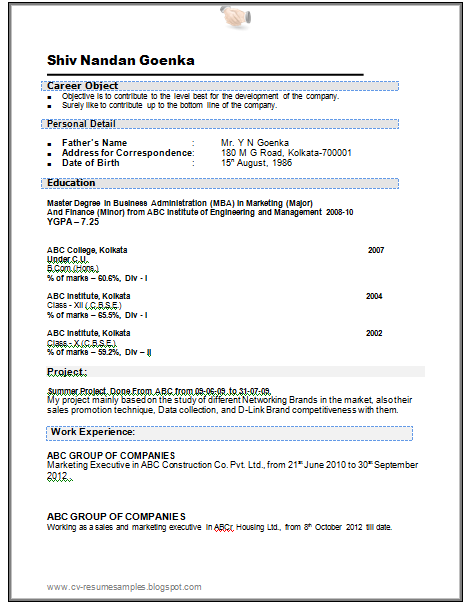 Over 10000 CV and Resume Samples with Free Download: Engineering MBA ...