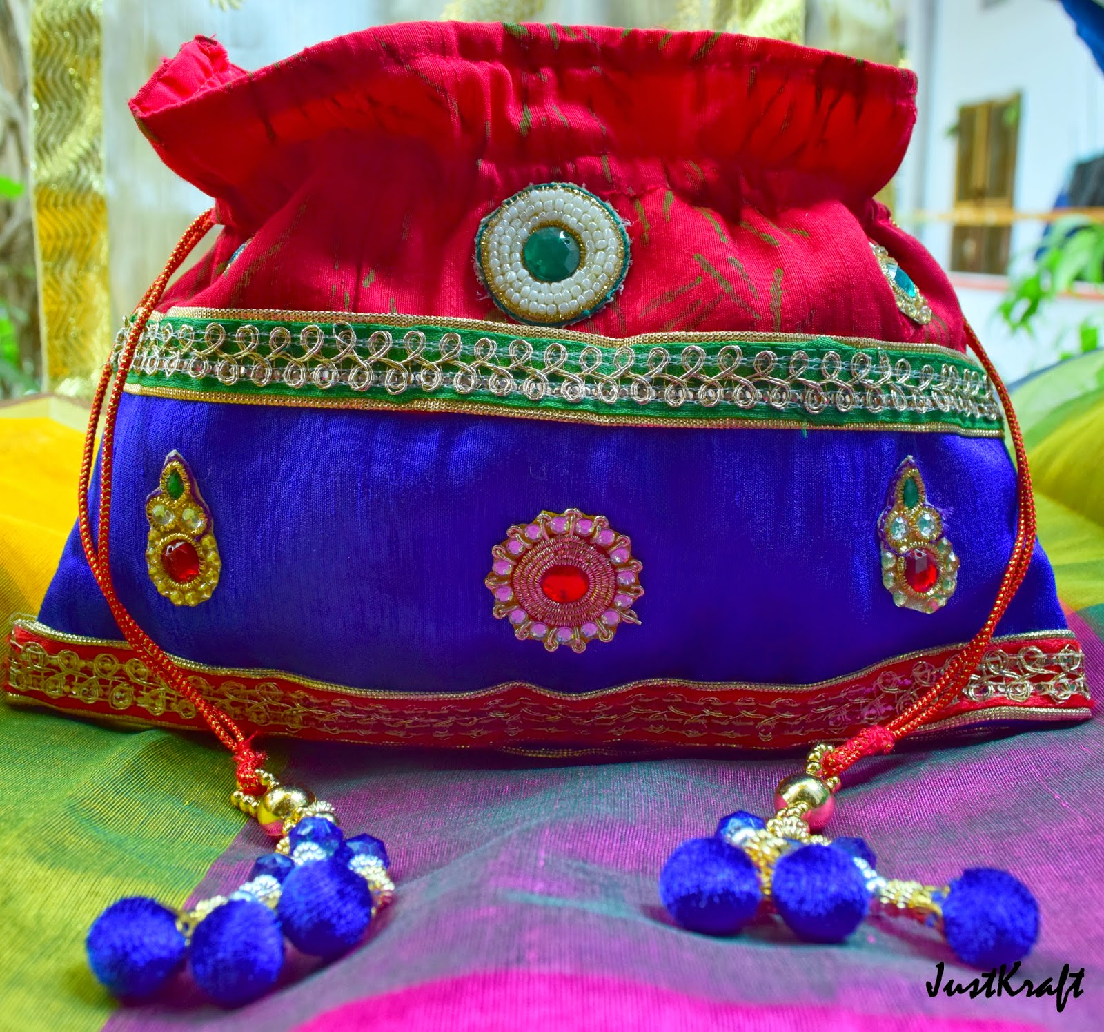 Multi colored raw silk Potli or Drawstring bags
