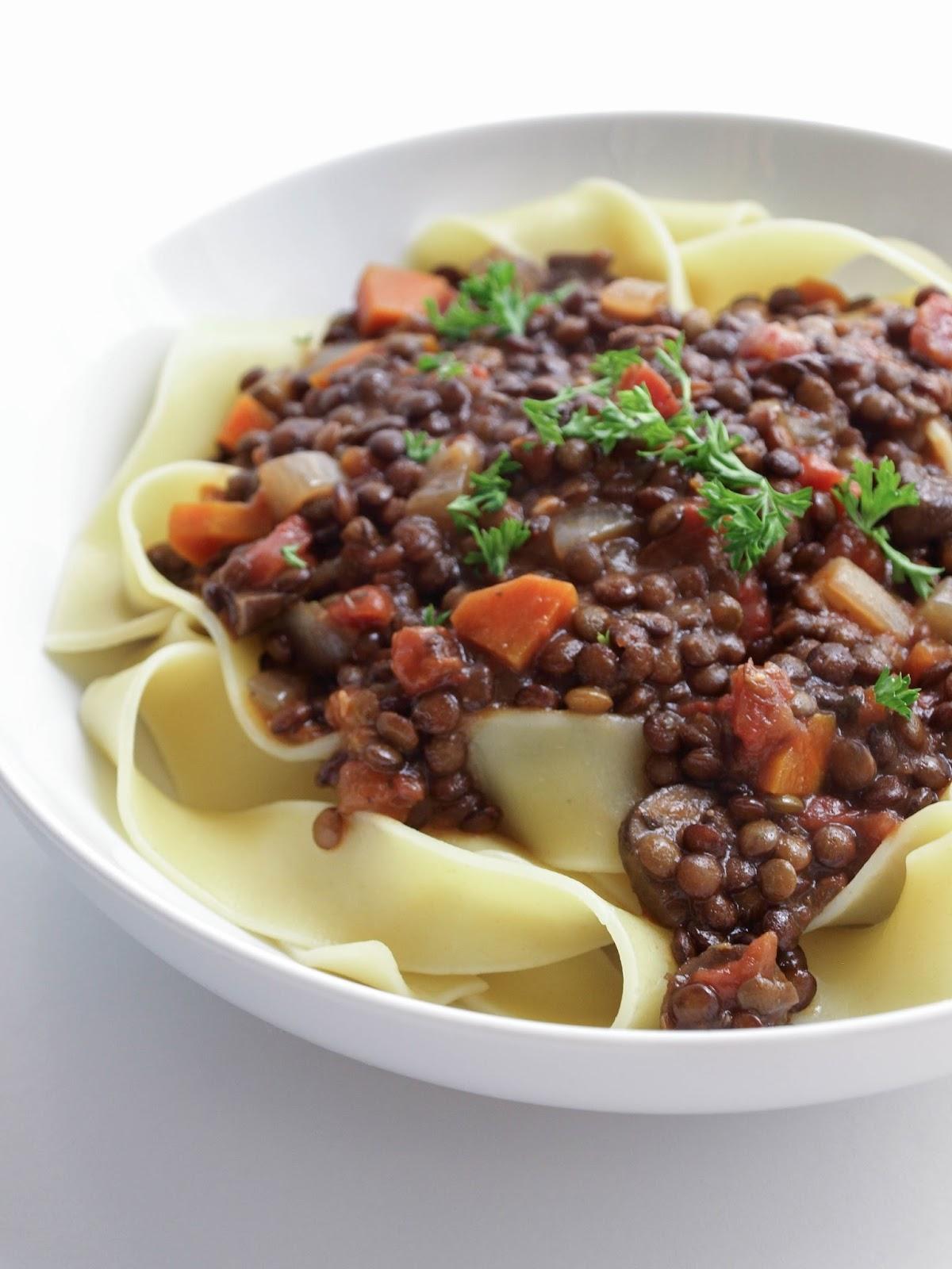 Hearty Lentil & Mushroom Ragu + Pasta
