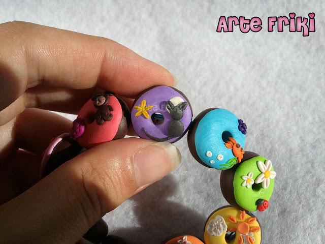 arcilla polimérica polymer clay pulsera bracelet donuts