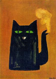 illustration by Julian Key of a black cat coffee pot