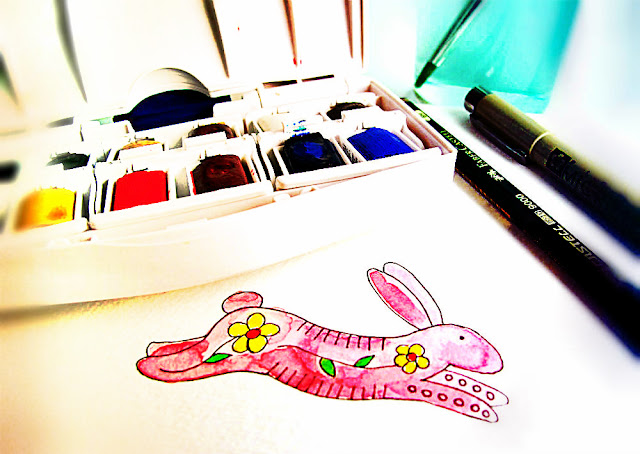 rabbit bunny watercolor painting play playing creativity drawing