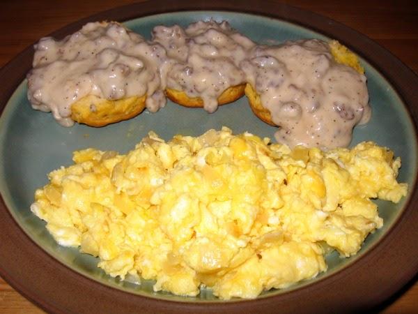 DreamznWishz Dinner Biscuits And Sausage Gravy W Scrambled Eggs