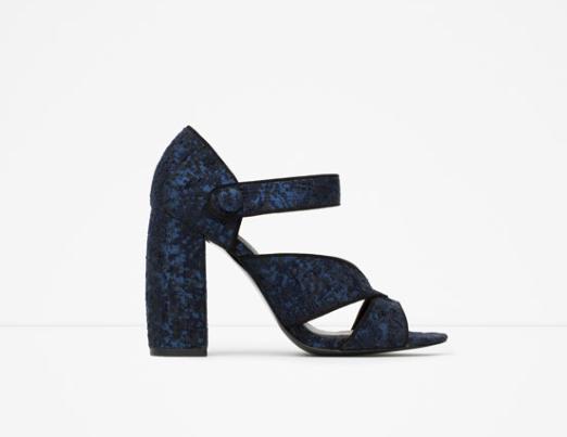 Clon fashion zapatos purpurina y tacón curvado ancho Zara versión zapatos Miu Miu