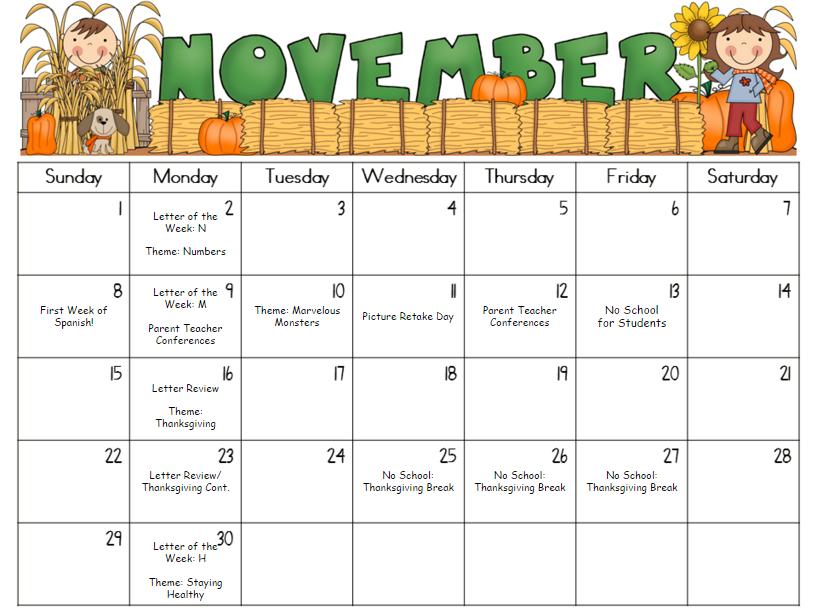 November Kindergarten Calendar : Woodcliff year old preschool october