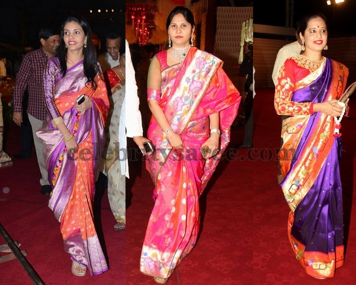 Celebrities in Bright Pythani Silk Sarees