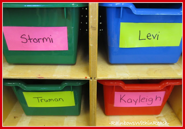 photo of: Individual Student Bins for Classroom Organization
