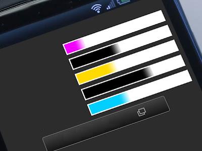 Уровни чернил на панели принтера