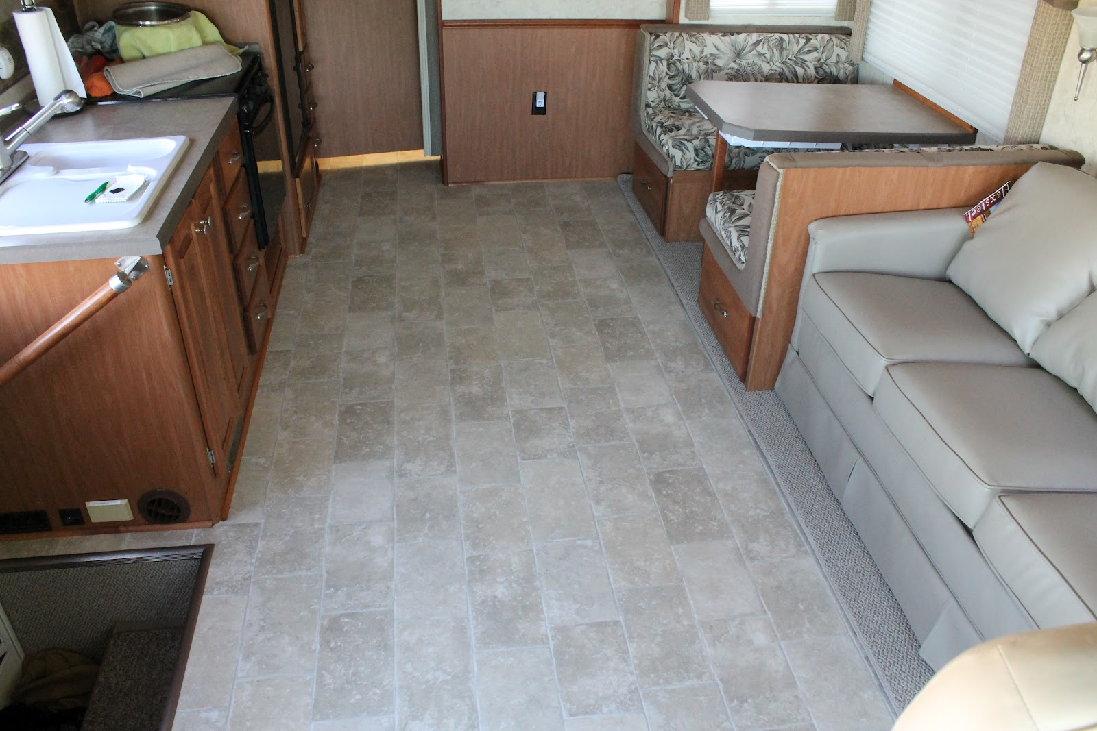 Installing linoleum in a bathroom - Countryside Interiors Transforming Rvs And Trailers