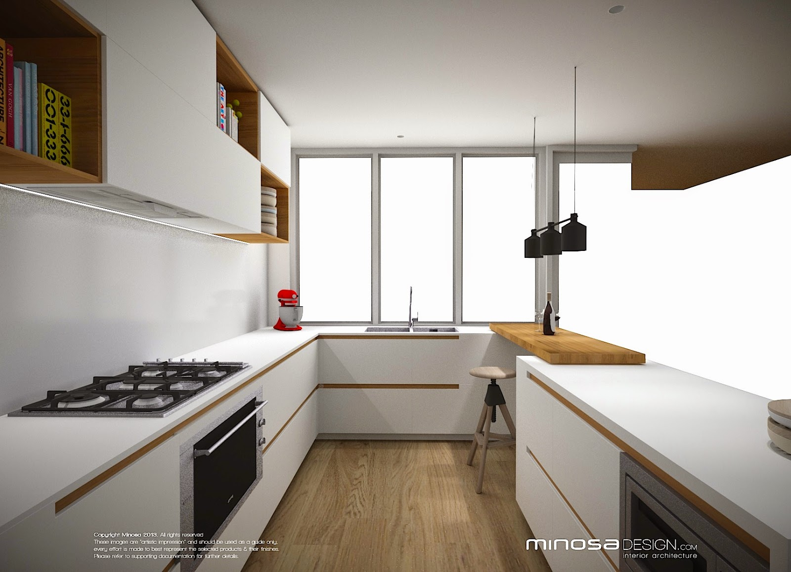 Minosa: Defining small kitchen space with a touch of wood