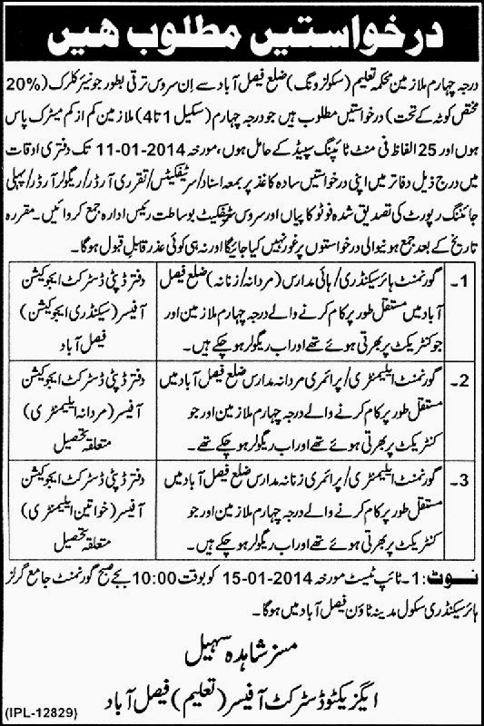 Clerical Jobs in Ministry of Punjab Education, Faisalabad