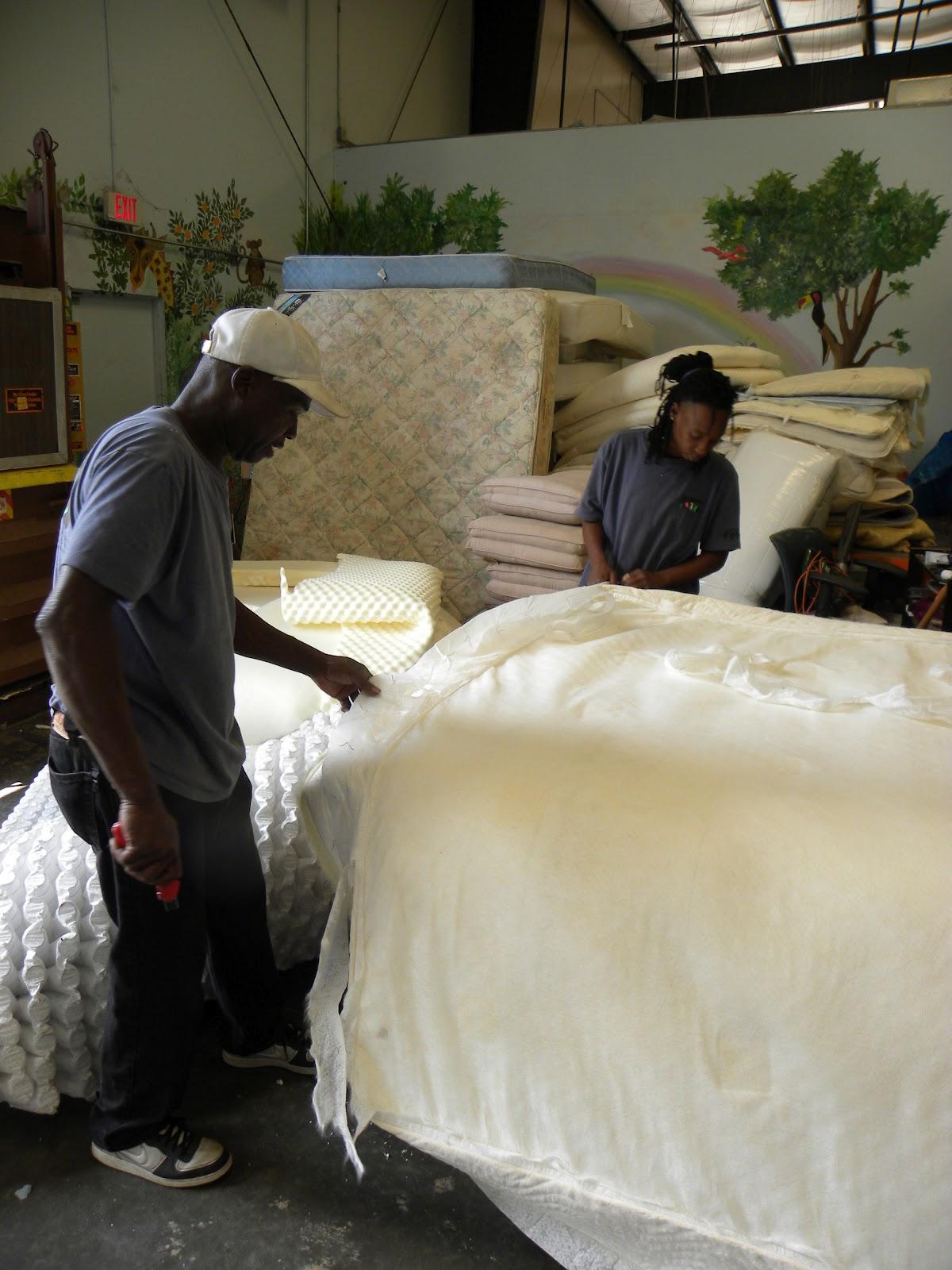 mattress recycling. Hard At Work Stripping A Mattress. Mattress Recycling S