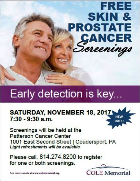 11-18 FREE Skin & Prostate Cancer Screenings