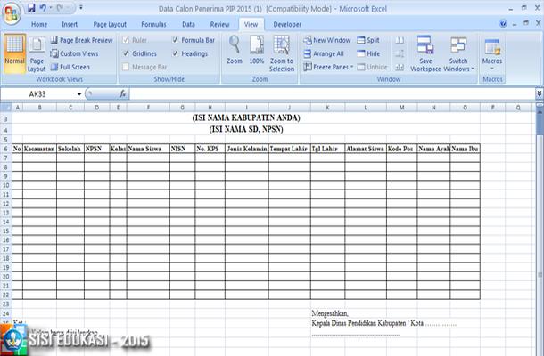 Format Usulan Sekolah (FUS) Calon Penerima PIP Non KPS/KKS/KIP Download Format Microsoft Excel