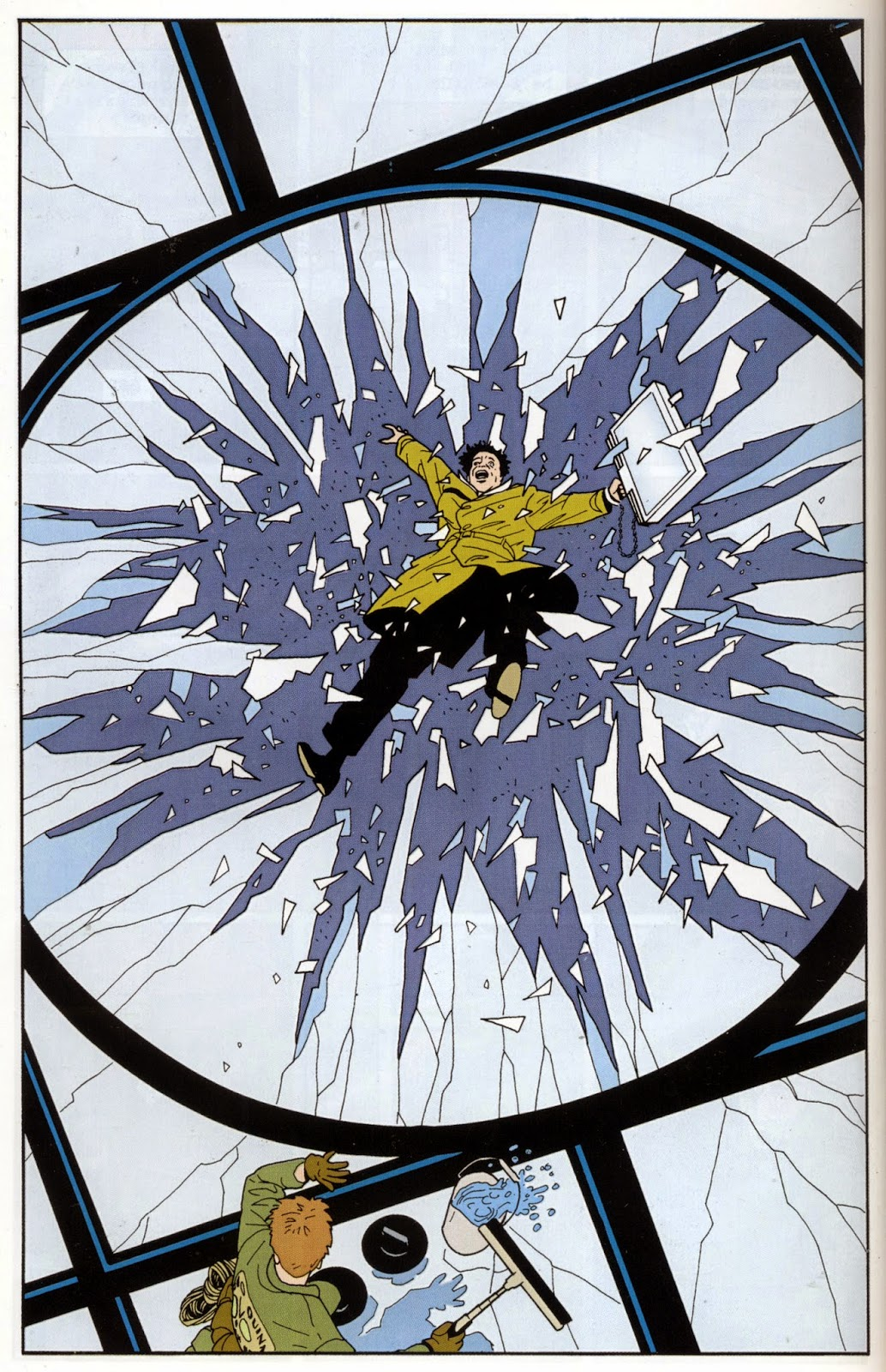 panel from Terminal City showing man crashing through a window