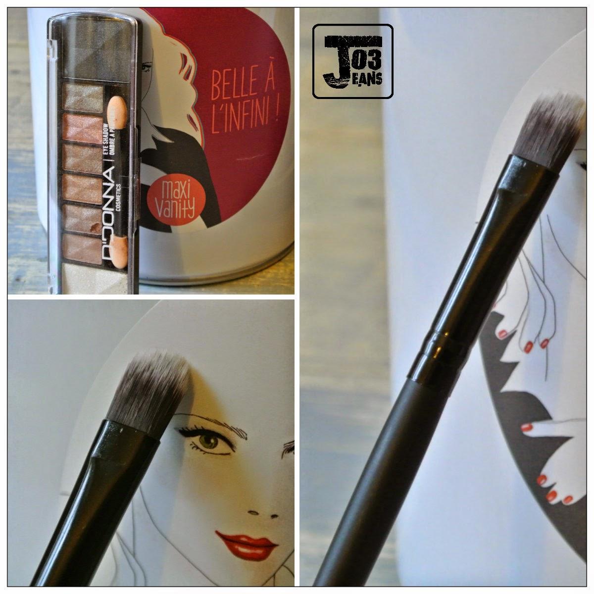 makeup palette de fards à paupière irisés, d'oonna, pinceau wynie,