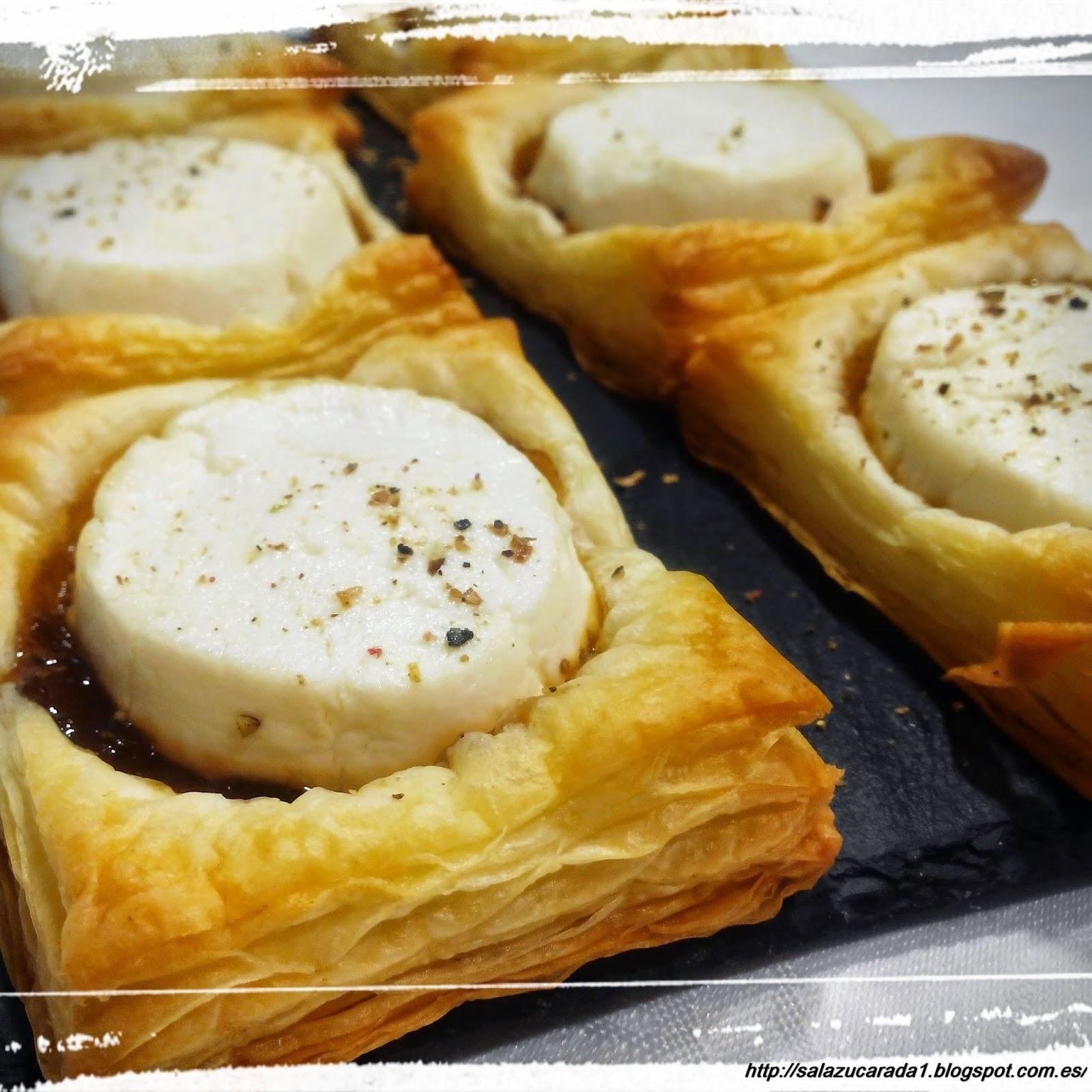 Sal azucarada canapes de hojaldre queso de cabra y for Canape queso de cabra