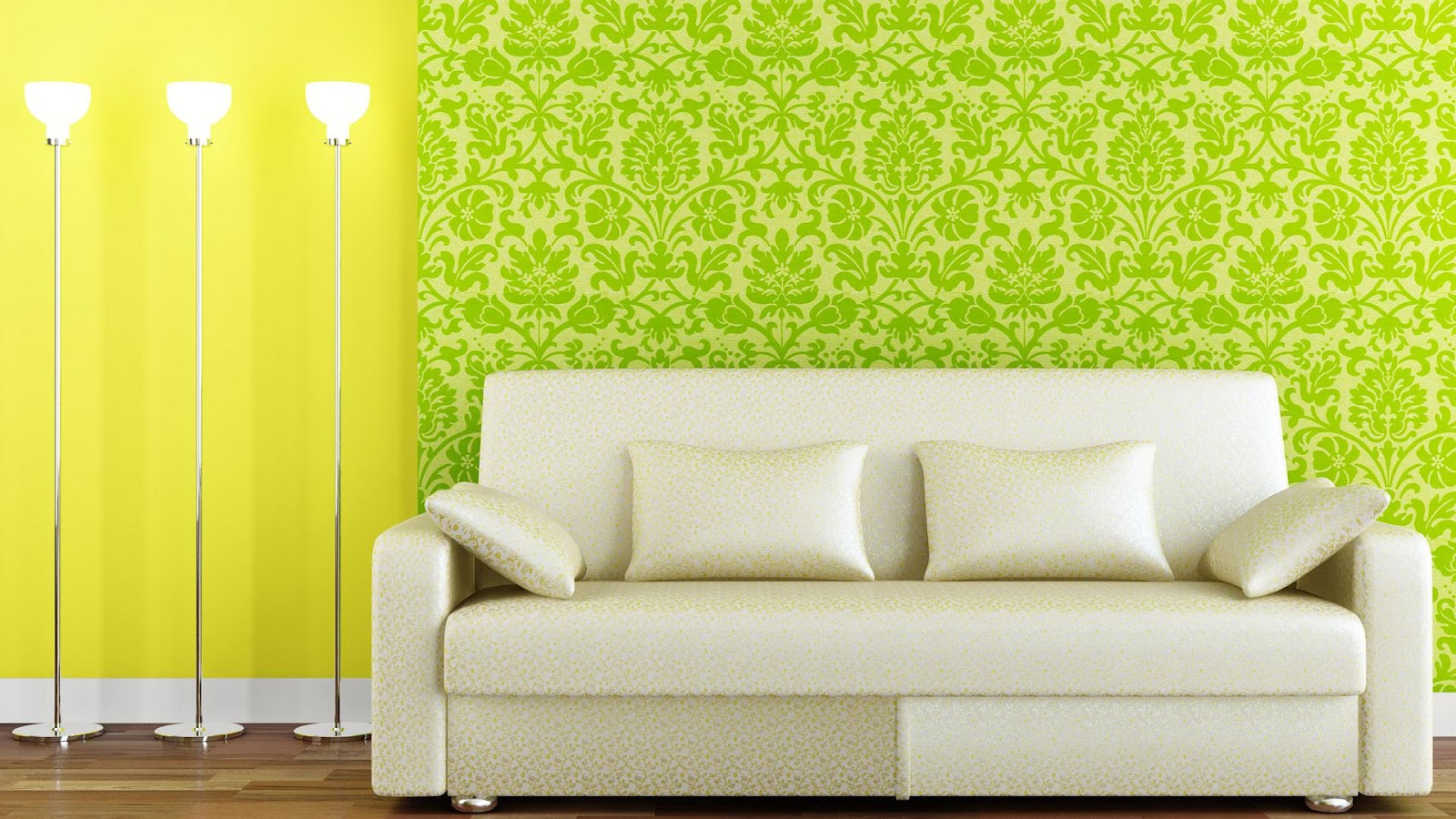 Beauty Green And Yellow Interior Wallpaper Design Wallpaper