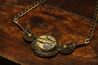 Steampunk Victorian - Necklace - Watch Movement and Paisley - Bronze