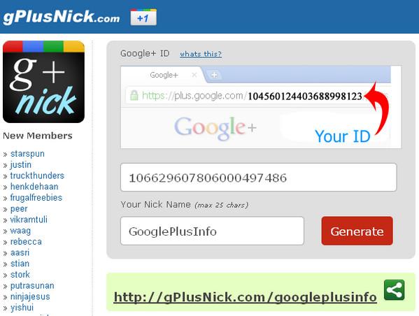 10 Sites to Create Shortened Google Plus Profile URL: gPlusNick.com