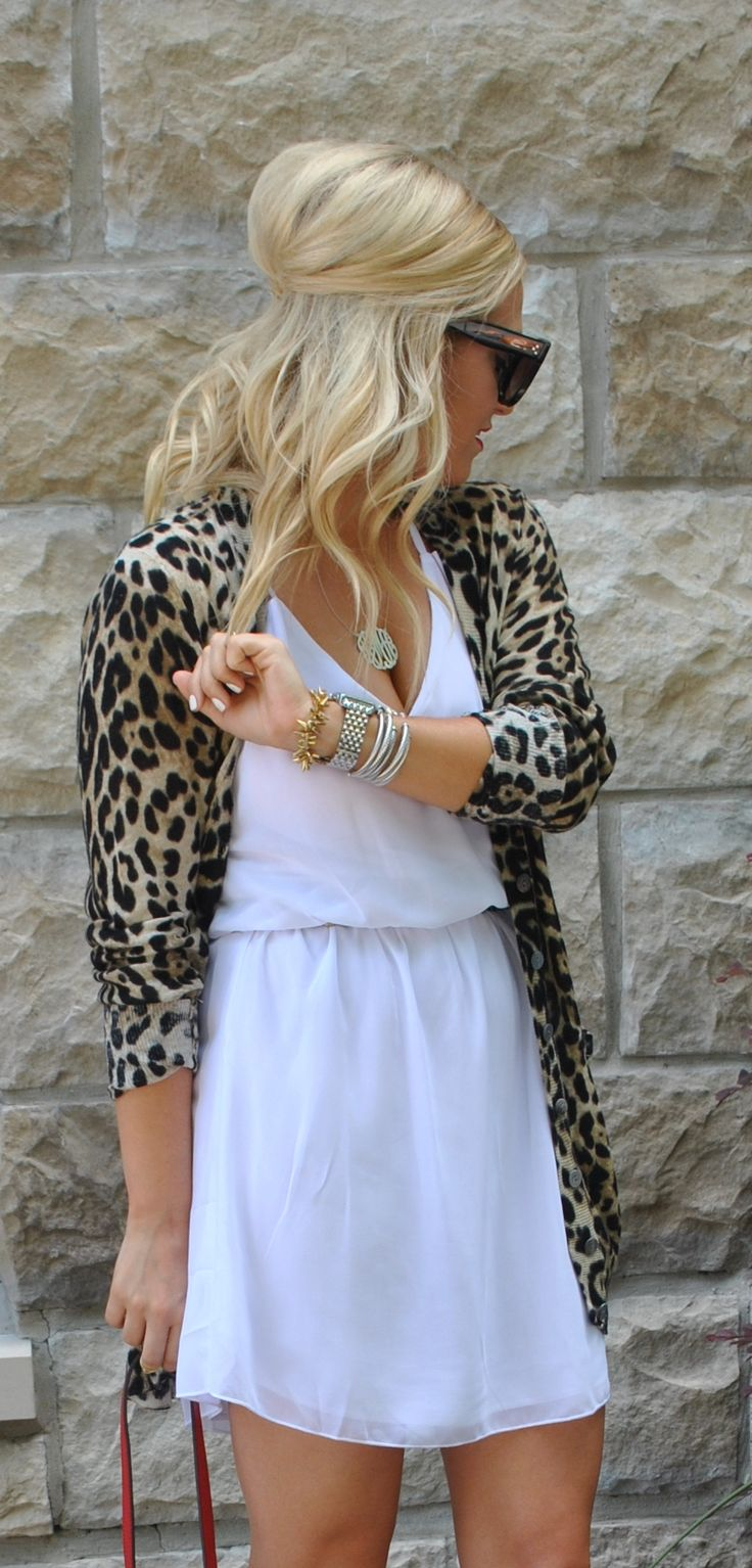 Love the pairing of a simple white dress with a cute animal print sweater! LOVE LOVE LOVE this sweater!!!!