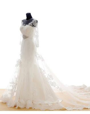 Snowskite Womens A-line V Neck Vintage Lace Wedding Dress