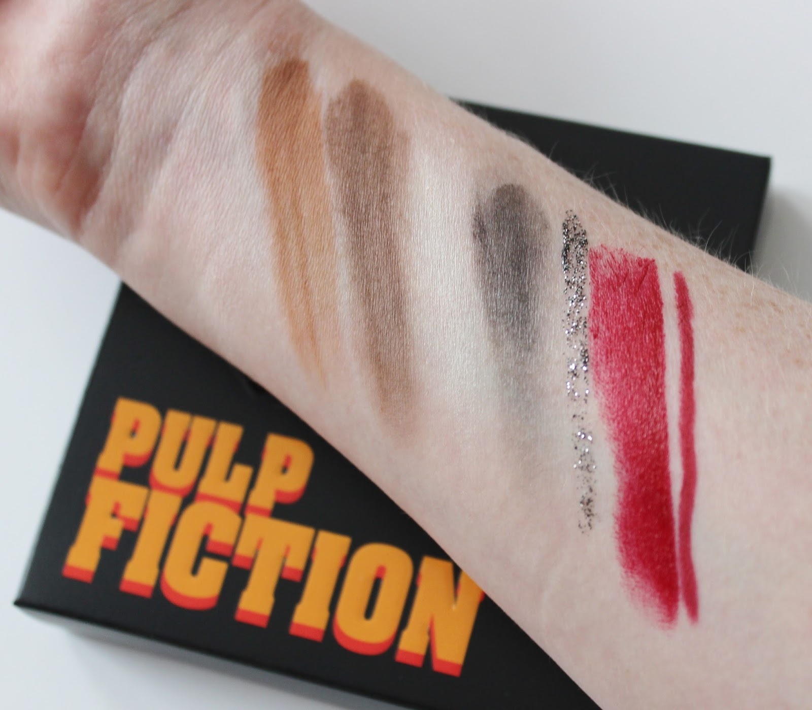 Urban Decay Pulp Fiction eye shadow palette, mrs mia wallace lipstick and liner swatches