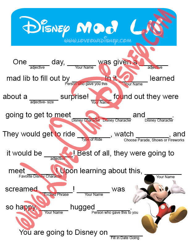 picture regarding Printable Mad Lib named Announce A Disney Vacation- Crazy Lib This Mad Journey
