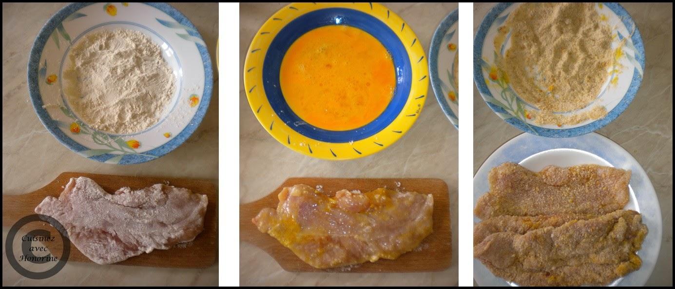 Les escalopes de dinde panées, riz à la sauce blanche