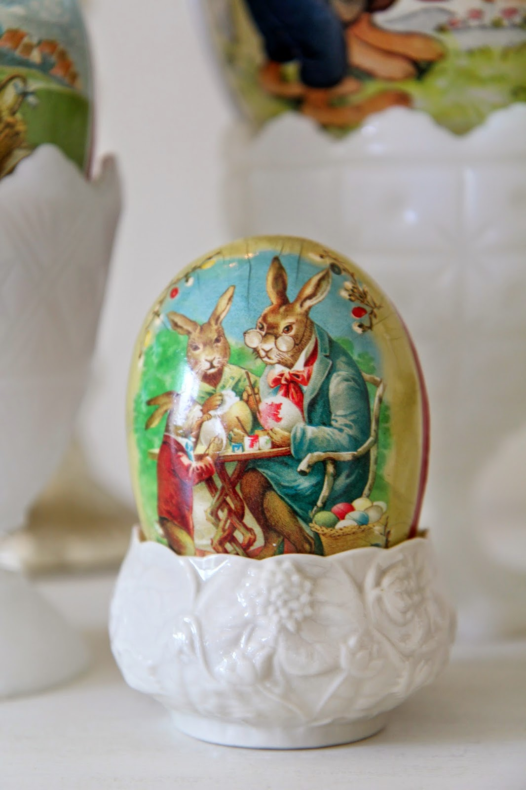 Bunny cardboard eggs; Easter Buffet Table Decor - Nora's Nest