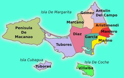 Mapa de Nueva Esparta Venezuela