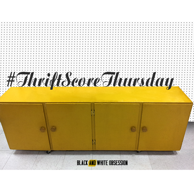 #thriftscorethursday Week 24- Mustard Colored Cabinets | www.blackandwhiteobsession.com