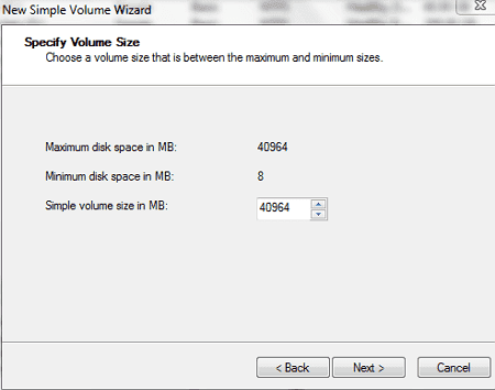 Specify Drive Size