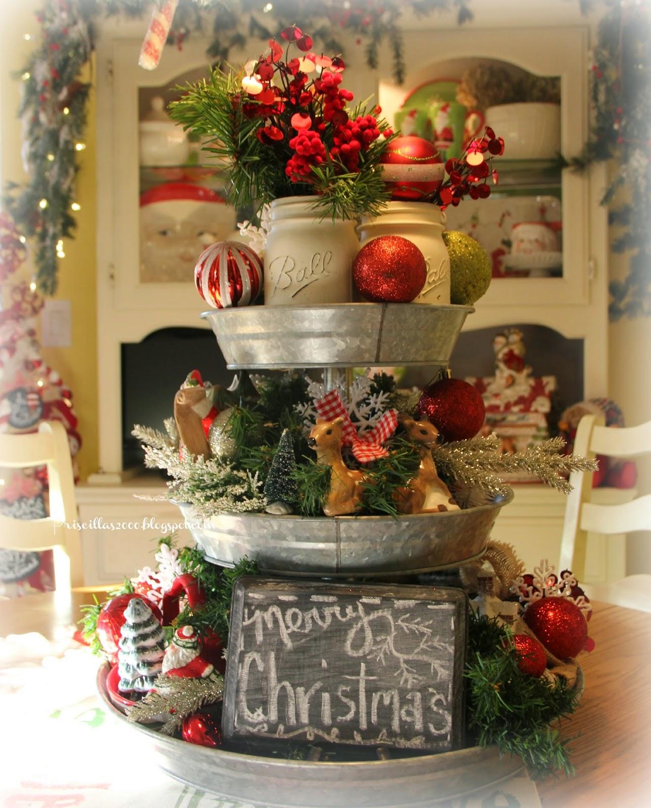 Priscillas christmas galvanized tray centerpiece